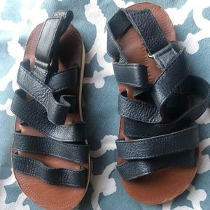 ZARA navy blue leather strapped sandals